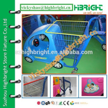 Azul royal atraente plástico crianças carrinho de compras com cesta de arame