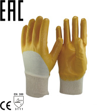 NMSAFETY anti oil cotton interlock liner 3/4 coated yellow nitrile knit wrist for handling rough abrasive materials gloves