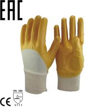 NMSAFETY anti óleo liner intertravamento de algodão 3/4 revestido de nitrilo amarelo de malha de pulso para o manuseio de luvas de materiais abrasivos ásperos