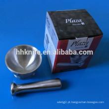 Conjunto de almofariz e pilão de moedor de especiarias de aço inoxidável