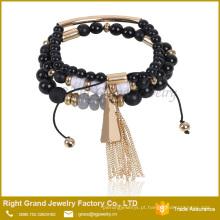 Projeto elegante do bracelete do grânulo de cristal do projeto 2017 o mais novo para meninas