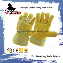 Cowhide Grain Industrial Safety Patched Palm Work Leather Glove