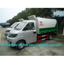 1.5 ton pequeno caminhão de lixo, Karry Brand escaninho caminhão de lixo levantador feito na China