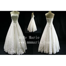 Perlen Ballkleid weißen Brautkleid trägerlosen Spitze Brautjungfer Kleid Abschlussballkleid neuesten Mode weißen Brautkleid heißen Verkauf