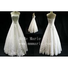 Бисером бальное платье белое свадебное платье без бретелек кружева платье невесты пром платье модные белый свадебные платья горячая распродажа
