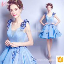 Korean Flower Blue 2017 Damen Sommer Appliqued Kurzes Frauen Abendkleid