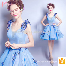 Korean Flower Blue 2017 Ladies Summer Appliqued Short Women Evening Dress