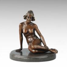 Figurine de figure nu Assis Dame Bronze Sculpture TPE-705