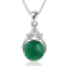 Women′s 925 Sterling Silver Natural Stone Green Agate Pendant Necklace with Chain