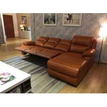 Угловой диван реклайнер, секционные кожаный диван (729)