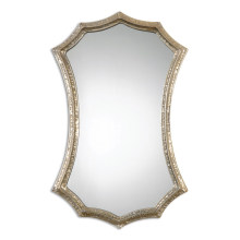 Espejo de pared con marco de metal martillado plateado para decoración del hogar