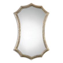 Miroir de mur encadré par métal argenté martelé pour la décoration à la maison