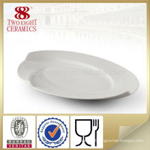 White wavy stoneware japanese dinnerware oval dinner plates
