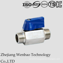 Double Male Thread Mini Ball Valve with Butterfly Handle