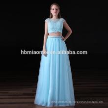 2017 último diseño magnífico dama de honor vestidos 2 unids conjunto atado azul claro vestidos de dama de honor de largo