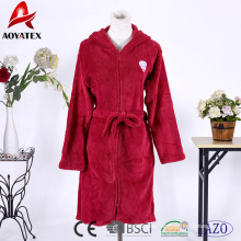 Customize hooded zipper sleepwear robe solid coral fleece bathrobe for women