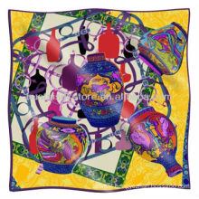 Indian Silk Scarf New Vase Design Big Square Indian Silk Scarf