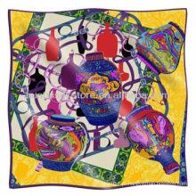 Lenço de seda indiana novo design vaso grande quadrado lenço de seda indiana
