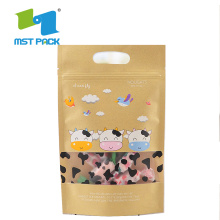 Bolsa de papel Kraft estampada con ventana Snack Bag