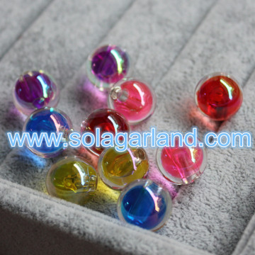 16MM Acrylic Round Rainbow Plated Beads Half Drilled Hole Beads Charms For Jewelry Making