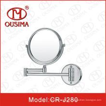 Espelho cosmético redondo montado na parede dobro
