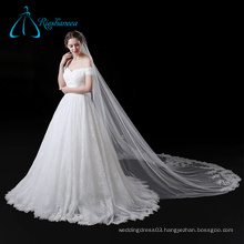 White Cathedral Lace Appliques Flowers Soft Tulle Long Wedding Veil
