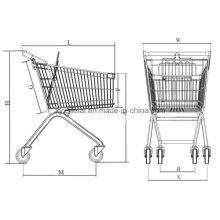 Carrinho de compras de supermercado para metal com rodas de elevador (60L-270L)