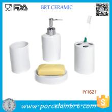 4PCS modernos altos accesorios de baño de cerámica blanca