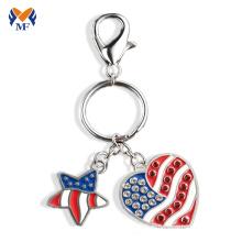 Металлический логотип компании брелок с логотипом США в форме сердца