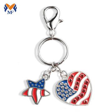 Металл логотип компании брелок с логотипом США сердце