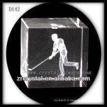 K9 3D laser gravé à l'intérieur du cube de cristal