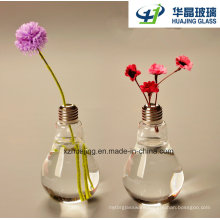 Creative Home Decoration Craft Lamp Bulb Shaped Flower Glass Vase