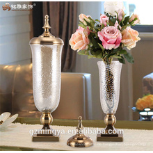 Romantisches Glasglas Unklar Oberfläche Beste dekorative Glasvasen für Hochzeitsmittelstücke mit abnehmbarem Bezug