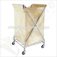 Panier de blanchisserie durable d'Oxford de pièce carrée sur des roues \ Chariot de blanchisserie d'hôtel avec le magasin d'outil de nettoyage