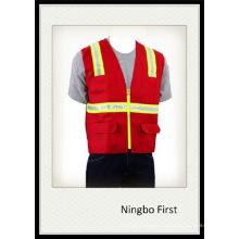 Red Traffic Safety Vest with Crestal Tape (DFV1075)