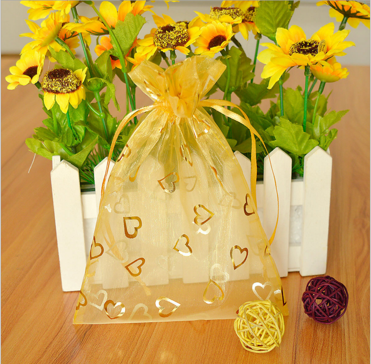 heart printed organza bag