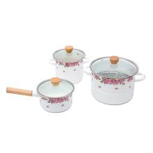 1.4mm 4pcs porcelain enamel cookware pot with full decal