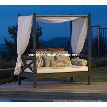 Mobília de Jardim Rattan vime Daybed sofá conjunto pátio ao ar livre