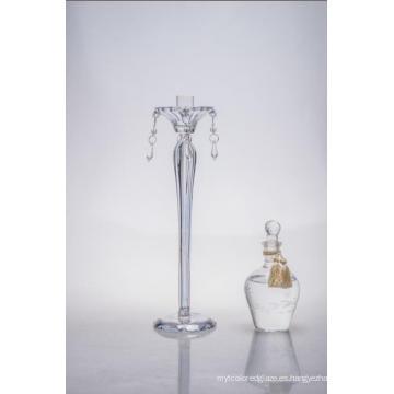 Sujetador de vela de cristal claro para la decoración de la boda con el solo cartel