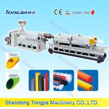 Línea de producción de tubo corrugado de pared doble y simple PVC / PE