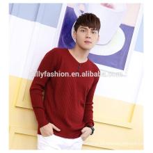 Moda knit 1/4 botões v-neck sweater mens pullover sweatshirt