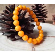 2015 Gets.com Pulseira Amber Natural, Honey Baltic Amber, com Rosca Elástica, Redonda, 8,5 mm