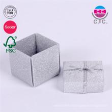 venta caliente conjunto de 2 caja de anillo de papel con cinta de seda