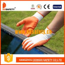 Guante recubierto de látex naranja de nailon blanco Dnl212