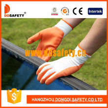 White Nylon Orange Latex Coated Glove Dnl212