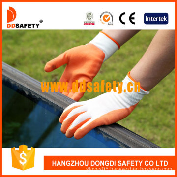White Nylon Orange Latex Coated Glove (DNL212)