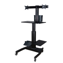 "Mobile Computer Workstation Gas Lift/Trolley Single Monitor 10-24"" Adjustable (GAS 1602)"