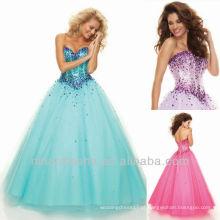 Sweetheart Sequin Beading Vestido de baile Andar Comprimento Organza Quinceanera Vestido Dressing
