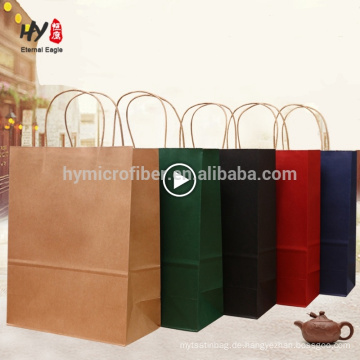 Heißes verkaufendes kundenspezifisches Logodrucken recyceln Kraftpapiereinkaufstasche