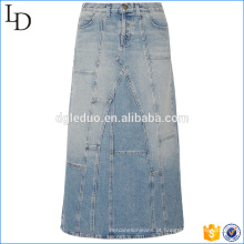 Venda quente nova saia de denim on-line por atacado longo macio